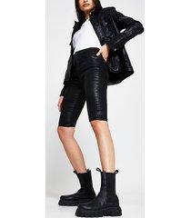 river island womens black high shine coated shorts
