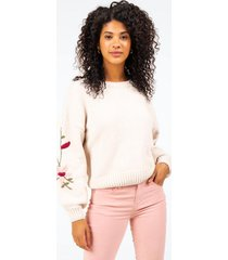 orlean embroidered sleeve sweater - ivory