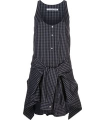 alexander wang poplin tie waist romper - black