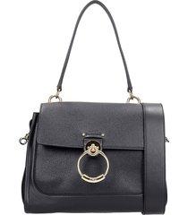 chloé tess big shoulder bag in black leather