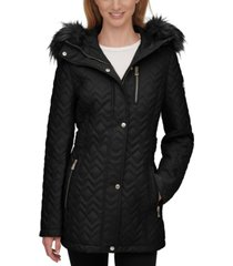 calvin klein petite faux-fur-trim hooded quilted coat