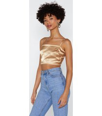 womens back at it satin crop top - gold
