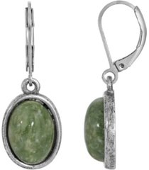 2028 silver-tone semi precious jade oval drop earrings