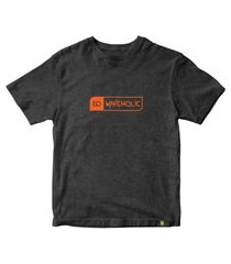 camiseta básica sustentável waveholic preto mescla logo laranja