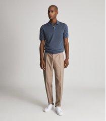 reiss blair - wool press snap polo shirt in steel blue, mens, size xxl
