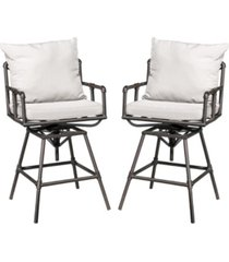 noble house hatteras outdoor adjustable height swivel barstool, set of 2