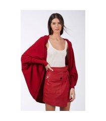 blusa ampla detalhe punhos vermelho