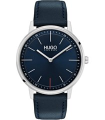 hugo men's #exist ultra slim blue leather strap watch 40mm
