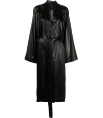 rick owens waist-tied single breasted coat - black