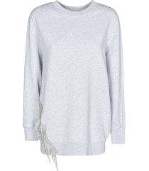 msgm crystal embellishment ribbed sweatshirt