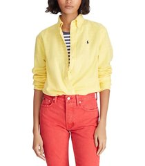 blusa mujer relaxed fit oxford amarillo polo
