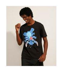 camiseta de algodão stitch manga curta gola careca preta