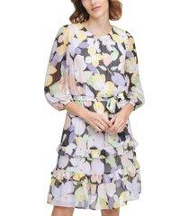 calvin klein printed tiered dress