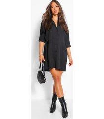 blouse jurk met driekwartsmouwen, black