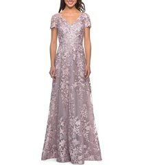 women's la femme embroidered lace a-line gown, size 16 - pink