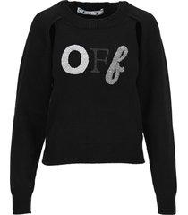off-white off white black logo sweater