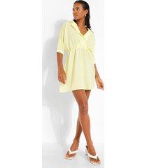 gesmokte jurk met open kraag, lemon