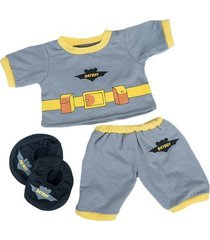 "batboy pj's w/slippers teddy bear clothes outfit fits most 14"" - 18"" build-a-bea"