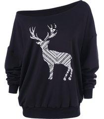 fawn print skew collar pullover sweatshirt