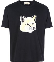 maison kitsuné fox head logo print t-shirt - black