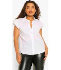 plus mouwloze blouse met schouderpads, white