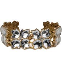 patricia nash gold-tone crystal floret link bracelet