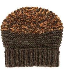0711 fuzzy knit beanie - brown