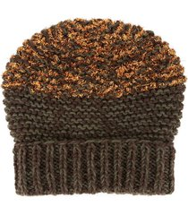 0711 textured metallic-detail beanie - brown
