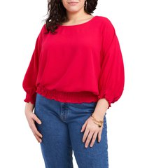 plus size women's vince camuto crinkle twill smocked blouse, size 1x - red