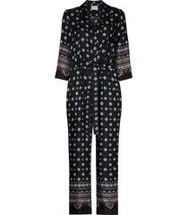erdem truman geometric-print silk jumpsuit - black