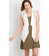 maurices womens crochet trim vest white