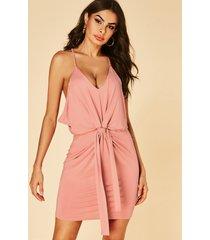 rosa plisado anudado llanura escote en v sin mangas vestido
