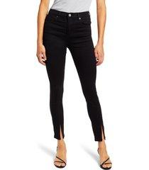 women's blanknyc the bond slit hem high waist ankle skinny jeans, size 31 - black
