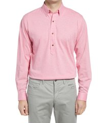 men's alton lane harris tailored fit popover shirt, size small - pink