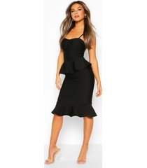 petite peplum fishtail bandage midi dress, black