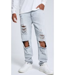 hombres hip hop style llanura cremallera frontal big ripped jeans