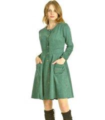 vestido broches verde bou's