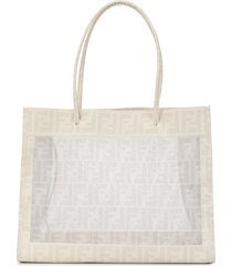 fendi pre-owned zucca pattern hand tote bag - white
