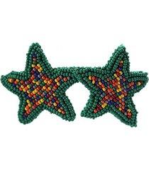 topo estrella tejido a mano verde multicolor bijulovers