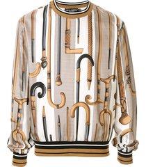 dolce & gabbana walking stick print silk sweatshirt - brown