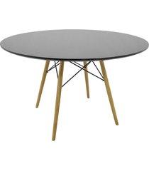 mesa eiffel tampo mdf preto base madeira rivatti móveis