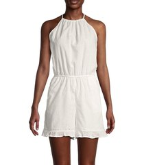bcbgeneration women's woven halterneck romper - white - size l