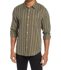 men's madewell perfect textured cotton button-up shirt, size large - green