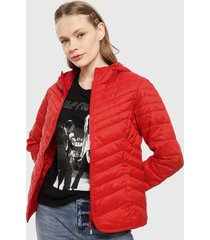 parka only demi quilt hooded rojo - calce ajustado