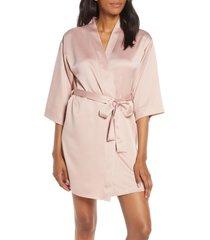 women's flora nikrooz victoria satin short robe, size medium/large - pink