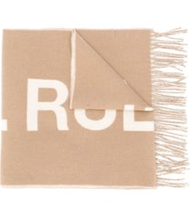 a.p.c. logo embroidered knit scarf - neutrals