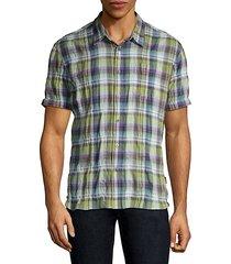 clyde short-sleeve plaid sport shirt