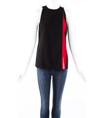 altuzarra frances black red silk pleated sleeveless top black/red sz: s