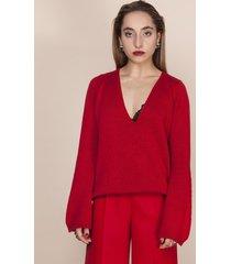 sweter z dekoltem w szpic czerwony
