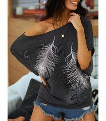 yoins grey feather printed one camiseta de punto de media manga con hombros descubiertos